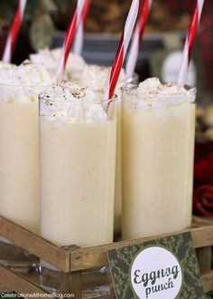 The easiest eggnog punch recipe you could possibly make for the holidays. It starts with store bought eggnog but we make it even better for a party! Christmas Drinks Alcohol, Christmas Cocktails, Holiday Drinks, Fun Drinks, Yummy Drinks, Christmas Desserts, Holiday Recipes, Christmas Recipes, Holiday Punch