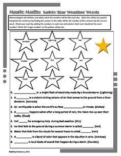 Magic Math Weather Safety Star Words