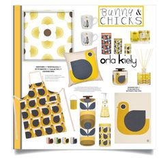 """Orla Kiely Yellow Hens"" by feelgood35 ❤ liked on Polyvore featuring interior, interiors, interior design, home, home decor, interior decorating, Orla Kiely, Royal Worcester and kitchen"