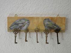 Schlüsselleiste,Hakenbrett,Vogel Motiv,Schlüssel von Schlueter-Home-Design auf DaWanda.com