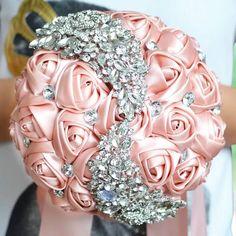 Silver Wedding Crowns, Purple Wedding Flowers, Crystal Wedding, Bridal Flowers, Silk Flowers, Ivory Wedding, Fabric Flowers, Wedding Brooch Bouquets, Bridesmaid Bouquet