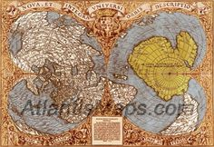 This map was found in the Library of Congress, Washington DC in 1960 by Charles Hapgood. It was drawn by Oronteus Finaeus in 1531 and includes a very accurate map of the continent of Antarctica, which was not discovered by modern man until 1820. What is even more perplexing is that this map of Antarctica is shown to be ice free with flowing mountains, rivers, drainage patterns and clean coastline.