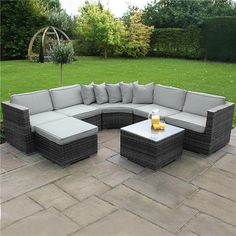 Maze rattan kingston corner sofa dining set grey 999 for Sofa exterior rattan sintetico