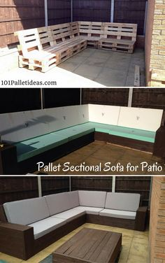 Elegant Diy Patio Furniture Sectional Home Projects patio furniture DIY Pallet Sectional Sofa for Patio Self Installed 8 10 Sectional Patio Furniture, Pallet Garden Furniture, Outdoor Furniture Plans, Sectional Sofas, Modern Sectional, Furniture Ideas, Garden Pallet, Furniture Design, Geek Furniture