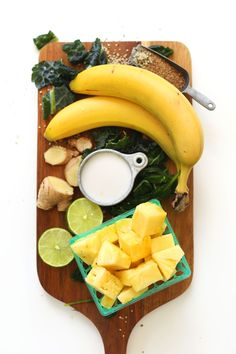 THE BEST Green Smoothie! Ginger, banana, pineapple, greens, lime juice, and coconut milk! #vegan #glutenfree #smoothie #recipe #minimalistbaker