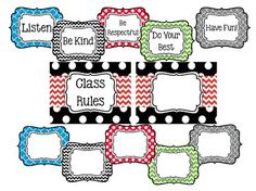 Cute Class Rules and Blank Signs...Isabella Classroom Decor. Backgrounds include: Chevron, Polka Dot, Quatrefoil, Stripes and more!