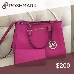 Michael Kors Purse and wallet-Fuschia No scratches, gently used Michael Kors Bags Shoulder Bags