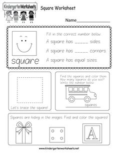 Kids can count, identify, and trace squares with several fun activities in this free kindergarten shapes worksheet.