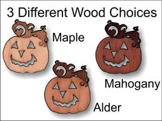 Decorative wooden jackolantern charm 1.5 inches by SandHonEtsy, $9.87
