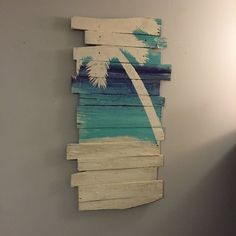 "Beach and Palm Tree on Skye Sea and Sand 24"" x 43"" by WoodburyCreek on Etsy"