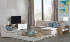 Tok&Stok Urbano Contemporâneo Aposte na praticidade dos sofás modulares para criar ou renovar a configuração do home cinema.