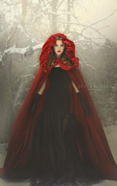 Not only a red cloak for Red riding hood but it's velvet! Raindrops and Roses