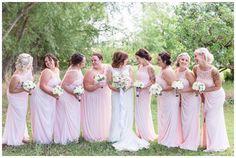 Bride and Brideamaids Petal Pink Long Dresses   bridal party girls laughing at the camera