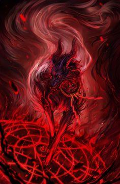 Inugami by avodkabottle Fantasy Wolf, Fantasy Beasts, Dark Fantasy Art, Wolf Artwork, Dark Artwork, Beautiful Dark Art, Beautiful Wolves, Mythical Creatures Art, Fantasy Creatures