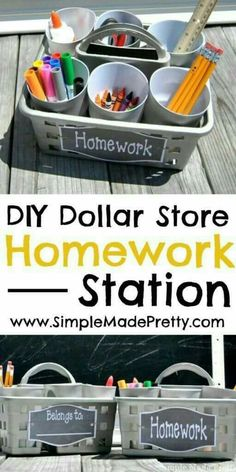 Get ready for a clutter-free school year with this simple Dollar Store portable homework station and our free printable label! Back to school, homework station, back to school DIY, back to school ideas - Diy Home Decor Dollar Store Homework Caddy, Homework Station Diy, Homework Ideas, Kids Homework Room, Homework Table, Homework Center, Homework Club, Dollar Store Crafts, Dollar Stores