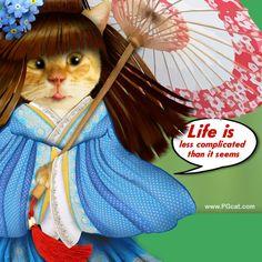 Greeting card with nice cat, cute, kawai
