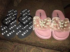 Vs pink flip flops size 9 new. Hot kiss slides size 9 good condition has small scratch mark on bottom of shoe look at last picture. Smoke free home Vs Pink Slides, Pink Flip Flops, Pink Sandals, Kiss, Smoke Free, Shoes, Fashion, Moda, Zapatos