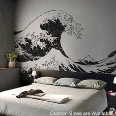 Vinyl Wall Decal Sticker Japanese Great Wave Hokusai LARGE 7ft X 11.2 | stickerbrand - Housewares on ArtFire