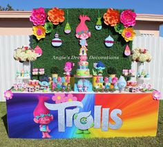 to (put trolls in the search box to pull up all troll items) Trolls Birthday Party, Troll Party, First Birthday Parties, 4th Birthday, Birthday Party Themes, First Birthdays, Birthday Ideas, Birthday Party Centerpieces, Birthday Backdrop
