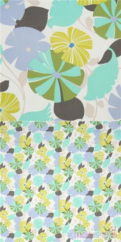 """white fabric with flowers in blue, green, chartreuse etc., with leaves, Material: 100% cotton, Fabric Type: smooth cotton fabric, Pattern Repeat: ca. 38cm (15"""") #Cotton #Flower #Leaf #Plants #USAFabrics"""
