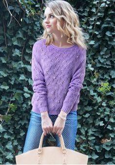 Knitted Woolen Sweater with Pearls https://www.maxfancy.com/knitwears