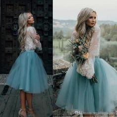 2017 Country Knee Length Bridesmaid Dresses Two Pieces Illusion Lace Long Sleeves Crop Top Puffy Tulle Wedding Party Maid Of Honor Gowns Bridesmaid Dresses Beach Wedding Bridesmaid Dresses Canada Online From Weddingfactory, $86.44  Dhgate.Com