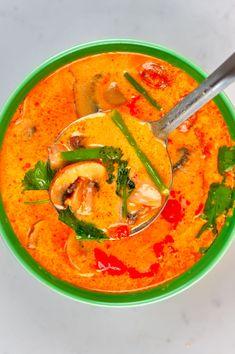 A bowl of Tom Yum Soup Tom Yum Noodle Soup, Tom Yum Noodles, Tom Yum Soup, Thai Hot And Sour Soup, Thai Shrimp Soup, Mushroom Varieties, Vegan Fish, Small Tomatoes, Tomato Vegetable
