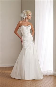 Sweetheart Ruched Bodice Wedding Gown with Beaded Details