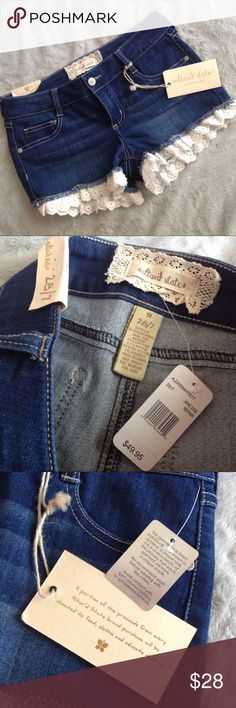 """NWT Altar'd State Easy Eyelet Shorts Brand new, never worn. Adorable denim shorts detailed to perfection with cool washed fabric and eyelet lace trim. Wash is """"Jane Doe Repair."""" Size 28, see photos for measurements. Altar'd State Shorts Jean Shorts"""