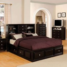 platform bedroom sets for anyone design ideas furniture america gavin full size bed set Furniture, Platform Bedroom Sets, King Size Bedroom Sets, King Sized Bedroom, Bed Furniture Design, Platform Bedroom, Bookcase Headboard, Full Size Bed Sets, Bed Frame With Drawers