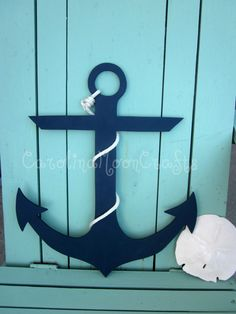 Wooden Anchor, Beach Wreath, Beach Decor, Nautical, Decor, Nautical Nursery by CarolinaMoonCrafts