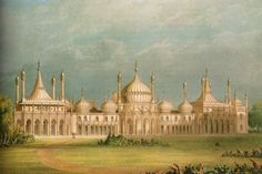 'There was Rosings in the distance. It was an impressive new house, very large, and bringing to mind sketches Elizabeth had seen of the Royal Pavilion at Brighton.' This pic - The Royal Pavilion, built for the Prince Regent by Nash. Brighton England, Brighton And Hove, Beautiful Places To Visit, Great Places, Anime Places, Royal Pavilion, The Royal Collection, Royal Residence, Lighted Canvas