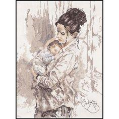 0 point de croix mere et bébé - cross stitch mother and baby romantic