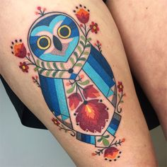 My Owl Barn: Folk Art Inspired Colorful Tattoos by Winston The Whale Owl Tattoo Meaning, Tattoos With Meaning, Tattoo You, New Tattoos, Tatoos, Hungarian Tattoo, Art Inspired Tattoos, Survivor Tattoo, Simple Line Drawings