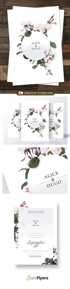 Creative Wedding Invitation Templates ( PSD Formats) #wedding #psd #invitation #template #creative #invites #templates Creative Wedding Invitations, Wedding Invitation Templates, Wedding Cards, Wedding Events, Weddings, Creative Flyers, Flower Invitation, Ideas Para Fiestas, Printable Cards
