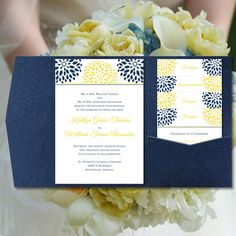 "Pocket Fold Wedding Invitations ""Floral Petals"" Navy Blue & Lemon Yellow Floral Templates All Seasons ALL COLORS Make Your Own DIY You Print"