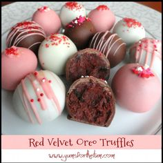 Just in time for Valentine's Day!  These rich, delicious truffles are a perfect harmony of red velvet and oreo flavors.