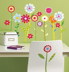 Wallies® Peel and Stick Wall Art Vinyl Appliqués. Green Garden flowers on stems. Adds bright & cheery decor to any room, including kids room, classrooms, laundry rooms and more.