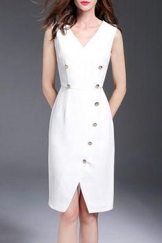 #AdoreWe #Dezzal Dezzal Front Slit Empire Waist Dress - AdoreWe.com