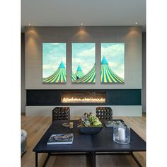 Marmont Hill 'Circus Tent Triptych' Canvas Art