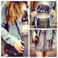 I've always wanted that shirt and the jean jacket and skirt look perfect with it