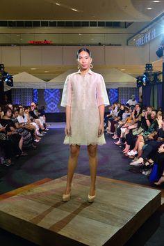 Embroidered piñasilk dress from Kultura Barong Tagalog For Women, Modern Filipiniana Dress, Kebaya Dress, Knee Length Dresses, Beautiful Gowns, Black Women, Street Wear, Pinoy, Office Wear