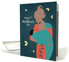 Happy Mother's Day with African American Mother and Baby card. Personalize any greeting card for no additional cost! Cards are shipped the Next Business Day. First Mothers Day, Mothers Day Cards, Mother And Baby, Mom Poems, Mother's Day Greeting Cards, Silhouette Design, Baby Cards, I Card, Holiday Cards