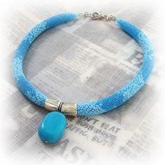 U-Boutique Shops   Net necklace,blue,light blue,Handmade necklace,Beadwork necklace,Woman necklace,Statement Jewelry,Unique Jewelry   tami peretz