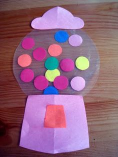 Contact Paper Gum Ball Machine add numbers for a counting activity!