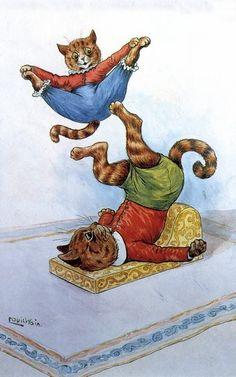 Louis Wain Acrobats Canvas Print