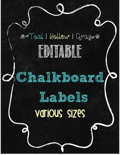 """Editable Labels {Teal   Yellow   Gray} Sizes include: 4"""" x 6""""2"""" x 2 3/4""""3"""" x 3"""" 9 1/2"""" x 3"""" (Desk Nameplates) Full Page Thank you! Please remember to leave feedback and earn TpT Credits!"""