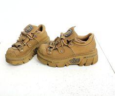 Vintage cuero marrón enredadera plataforma Industrial botas tamaño EU39 UK6 US8 5