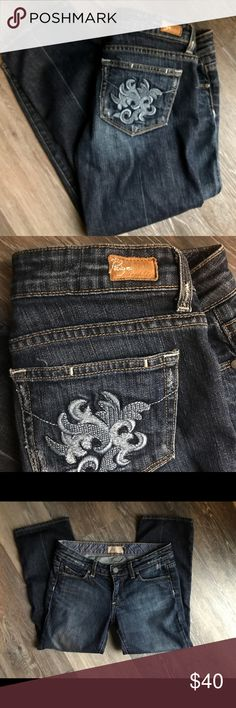 Paige 'Laurel Canyon' flower cropped jeans EUC! Paige 'Laurel canyon' cropped flower jeans. Size 27. No holes or stains. PAIGE Jeans Ankle & Cropped
