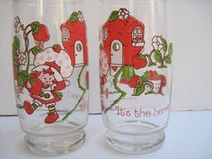 Vintage Strawberry Shortcake drinking glasses